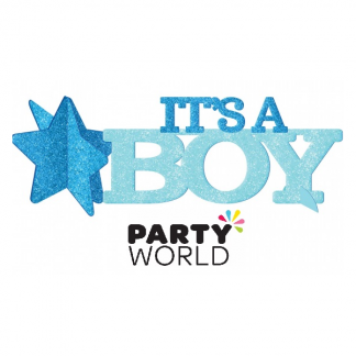 Its A Boy Blue Glitter Table Decoration