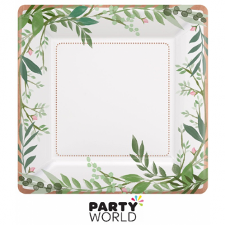 Love & Leaves Paper Square Plates 7inch (8)