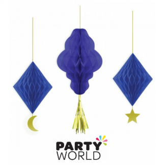 Moon & Stars Hanging Honeycomb Decorations (3)