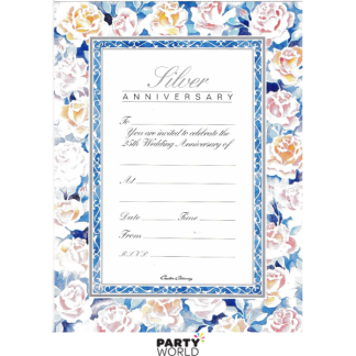 Silver 25th Anniversary Vintage Floral Invitation Pad (20 sheets)