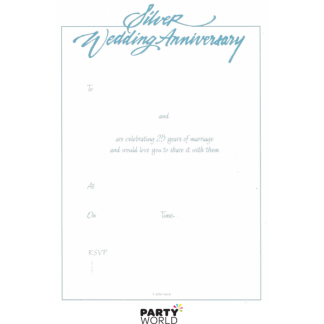 Silver 25th Anniversary Vintage Invitation Pad (25 sheets)