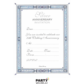 Silver 25th Anniversary Invitation Pad (20 sheets)