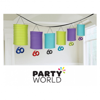 60th Birthday Celebration Paper Lantern Garland
