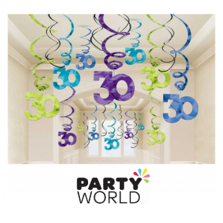 30th Birthday Swirl Decorations (30pk)