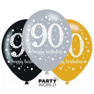 90th Birthday Sparkling Celebration Latex Balloons (6)