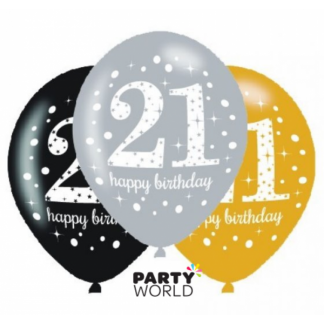 21st Birthday Sparkling Celebration Latex Balloons (6)