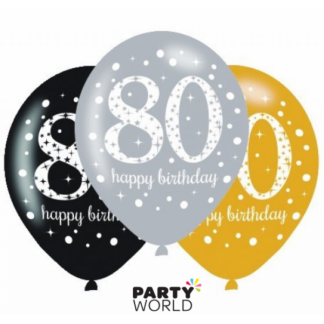 80th Birthday Sparkling Celebration Latex Balloons (6)