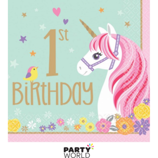 Unicorn Magical 1st Birthday Luncheon Napkins (16)
