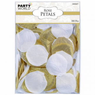 Artificial Silk Rose Petal Scatters - Gold & White (300)