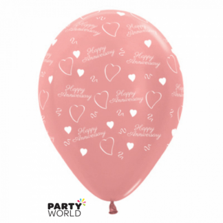 Happy Anniversary Metallic Rose Gold Latex Balloons (6)