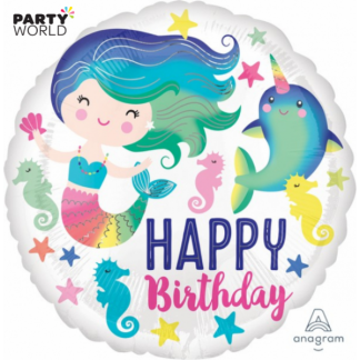 Mermaid & Ocean Colourful Party Foil Balloon