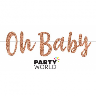 Oh Baby Rose Gold Glitter Bunting