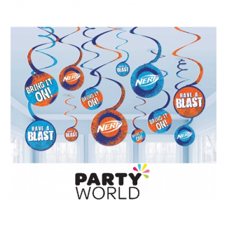Nerf Party Spiral Hanging Decorations (12)