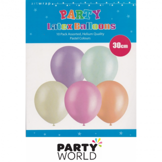 Pastel Assorted Latex Balloons 30cm (10)