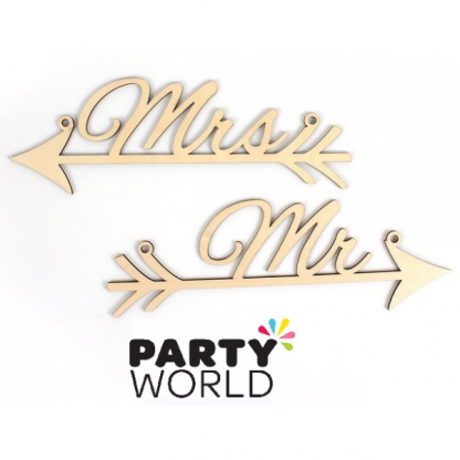 Mr and Mrs Arrow Mini Wedding Wooden Sign