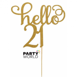 Hello 21 Gold Glitter Cake Topper
