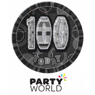 100 Today Big Black & Silver Badge