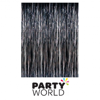 Black Fringe Foil Curtain