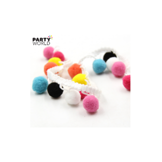 Colorful Pom Pom Ball Fringe (3m)