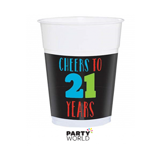21st Birthday Plastic Cups (20) -16oz- Great For Beer Pong