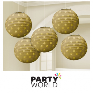 Mini Paper Lanterns - Gold With Dots (5)
