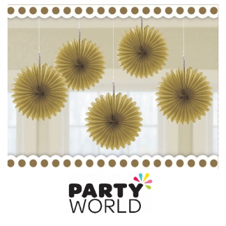 Mini Tissue Fans - Gold (5)