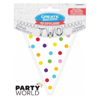 Mini Paper Pennant Banner - Rainbow Dots