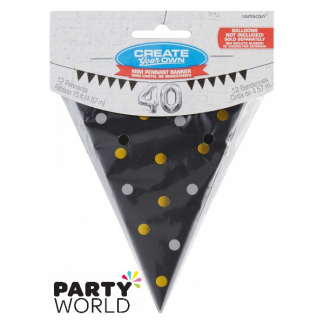 Mini Paper Pennant Bunting Banner - Black With Gold & Silver Dots