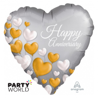 Happy Anniversary Hearts Foil Balloon