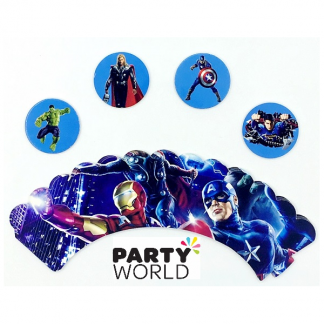 Avengers Cupcake Toppers and Wrappers (12)