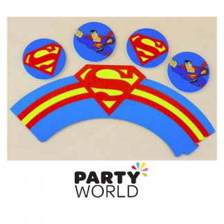 Superman Cupcake Toppers and Wrappers (12)