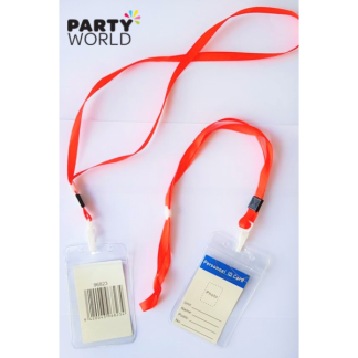 ID Card Holder With Red Lanyard