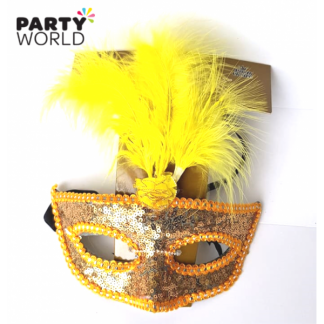 Orange Sequins & Yellow Feather Mask