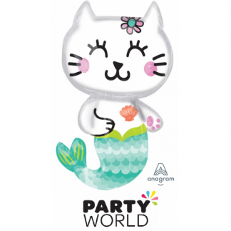 Selfie Celebration Mermaid Cat Foil Balloon