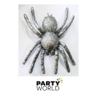 Large Silver Glitter Spider