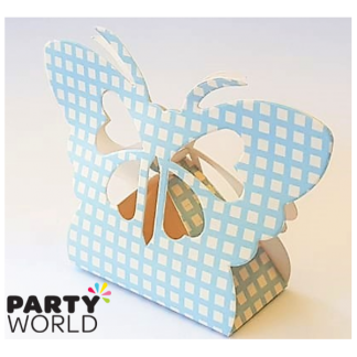Butterfly Blue Checked Paper Treat Box