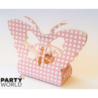 Butterfly Pink Checked Paper Treat Box