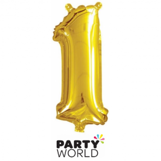 Gold Foil Number Balloon 14in - 1