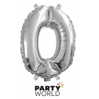 Silver Foil Number Balloon 14in - 0