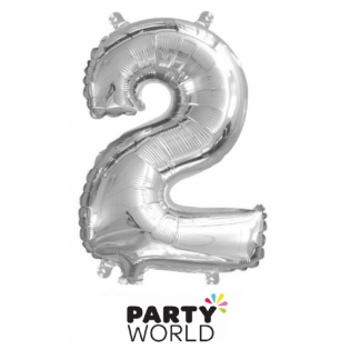 Silver Foil Number Balloon 14in - 2