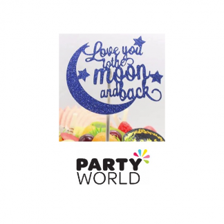 Love You To The Moon & Back Dark Blue Cake Topper