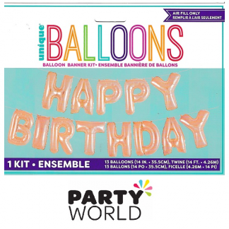 Rose Gold Happy Birthday Balloon Banner Kit