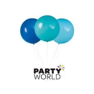 "Blue & Teal Assorted 24"" Latex Balloons (3)"