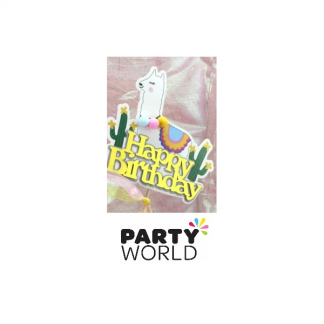 Llama Happy Birthday Cake Topper