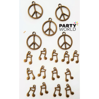 Antique Charms - Peace Signs & Music Notes (18)