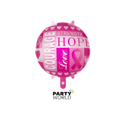 Breast Cancer Pink Ribbon Foil Balloon 18in