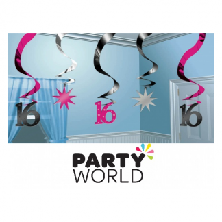 Sweet 16 Hanging Swirl Decorations (5)