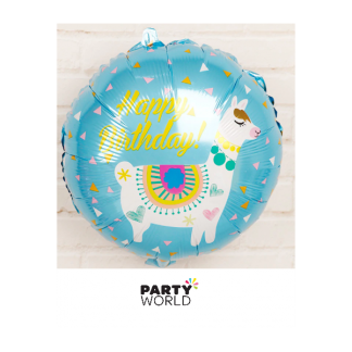Llama Happy Birthday Foil Balloon 17in Blue