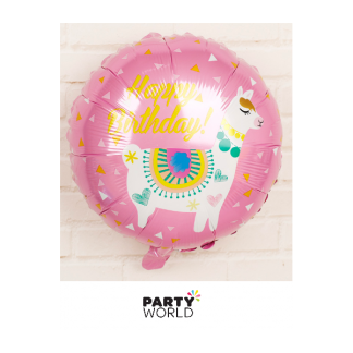 Llama Happy Birthday Foil Balloon 17in Pink