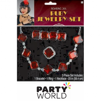 Roaring 20's Ruby Jewellery Set (3 pce)